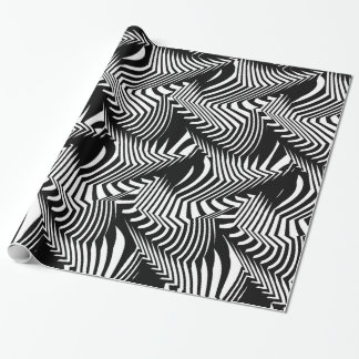 Black and White 3D Look Stepped Hills Pattern Wrapping Paper