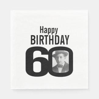 Black and white 60th birthday photo napkins disposable serviette