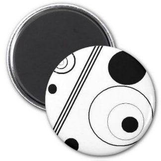 black and white 6 cm round magnet