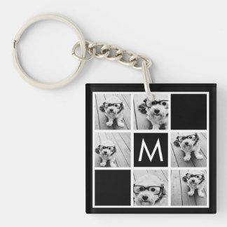 Black and White 6 Photo Collage Custom Monogram Key Ring