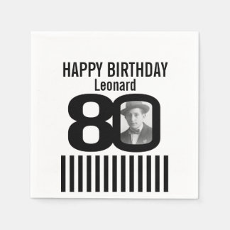 Black and white 80th birthday stripe photo napkins disposable serviette