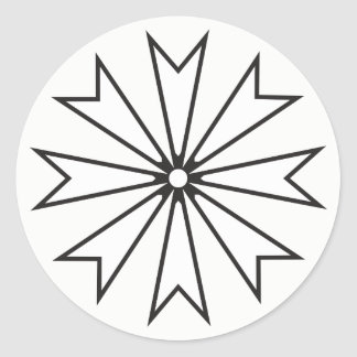 Black and White 8 Pointed Star Flower Classic Round Sticker
