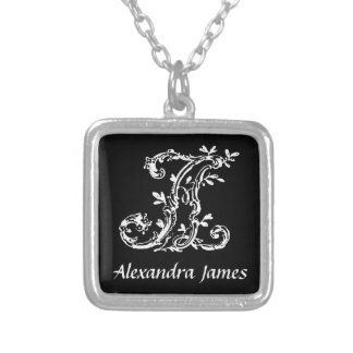 Black and White A Monogram Initial Personalized Square Pendant Necklace