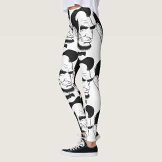Black and White Abraham Lincoln Caricature Leggings