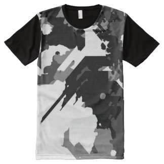 Black and White Abstract All-Over Print T-Shirt