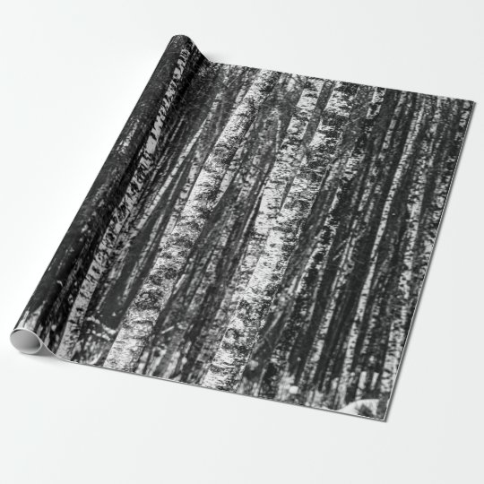 Black and White Abstract Birch Forest Wrapping Paper