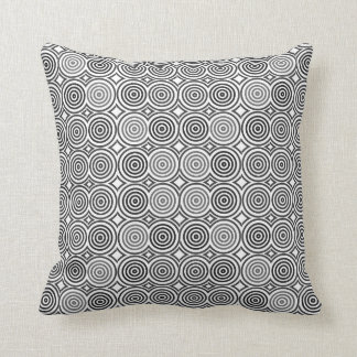 Black and White abstract Circle Pattern Throw Cushion