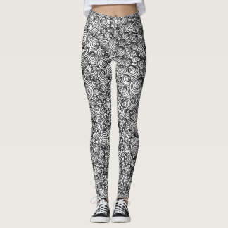 Black and White Abstract Circles Leggings