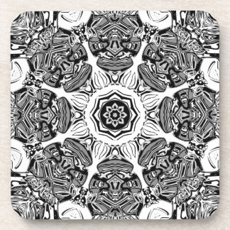 Black And White Abstract Coaster