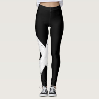 Black and white abstract cross leggings