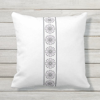Black and White Abstract Floral Pattern Outdoor Cushion
