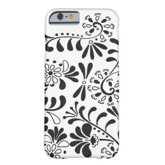 Black and white abstract flowers barely there iPhone 6 case