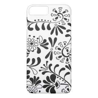 Black and white abstract flowers iPhone 7 plus case