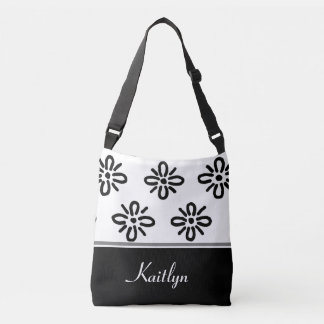 Black and White Abstract Flowers   Personalized Tote Bag