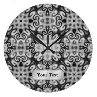 Black and White Abstract Geometric Ornament Twirls Wallclock