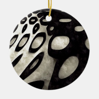Black and White Abstract Grunge Round Ceramic Decoration