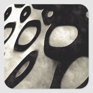 Black and White Abstract Grunge Square Stickers