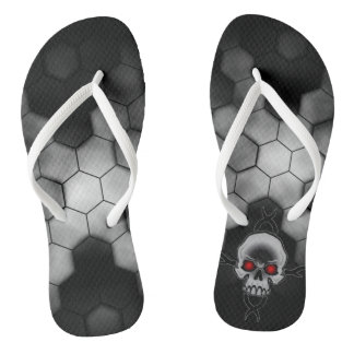 Black and White Abstract Honeycomb Skulls Thongs