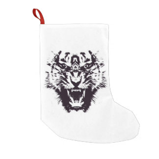 Black and White Abstract Jagged Angry Tiger Small Christmas Stocking