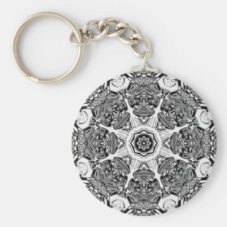 Black And White Abstract Key Ring