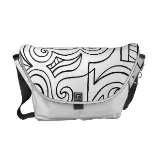 Black and White Abstract Messenger Bags