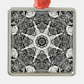 Black And White Abstract Metal Ornament