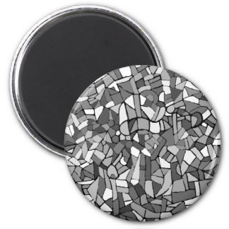 black and white abstract mosaic magnet
