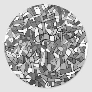 black and white abstract mosaic round sticker