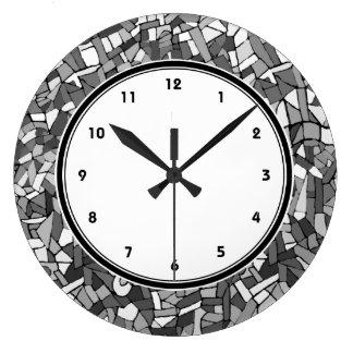 Black and white abstract mosaic wall clock