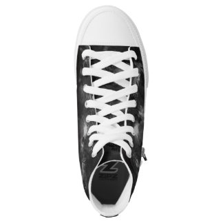 Black and White Abstract on high tops Printed Shoes