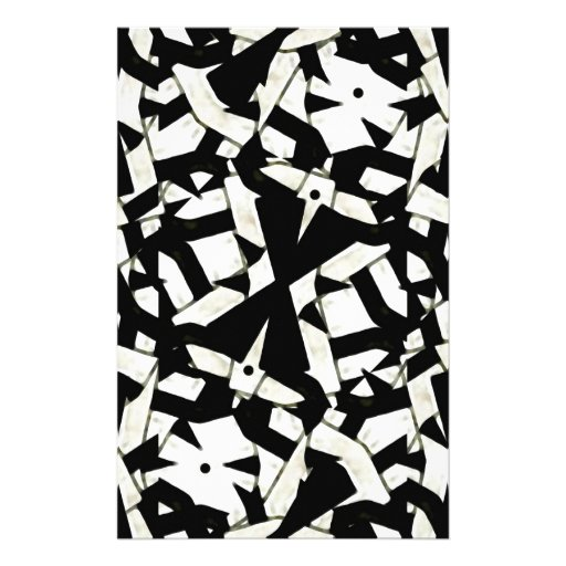 Black and White Abstract Ornament Pattern Customized Stationery