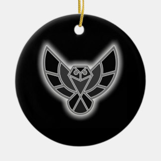 Black and White Abstract Owl in Flight Ceramic Ornament