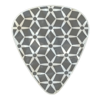 Black and white abstract pattern pearl celluloid guitar pick