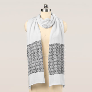 Black and White Abstract Print Jersey Scarf