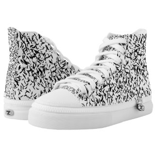 Black and white abstract sneakers
