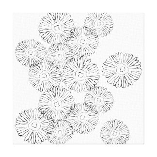 Black and white abstract spring flowers canvas print