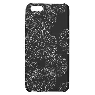 Black and white abstract spring flowers cover for iPhone 5C