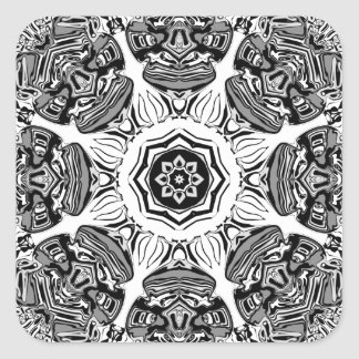 Black And White Abstract Square Sticker