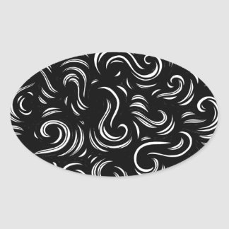 Black and White Abstract Oval Sticker
