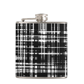 Black and White Abstract Stripe Pattern Hip Flask