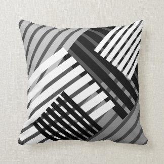 Black and White Abstract Stripe Throw Pillow