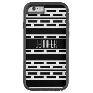 Black and White Abstract Striped Pattern Tough Xtreme iPhone 6 Case