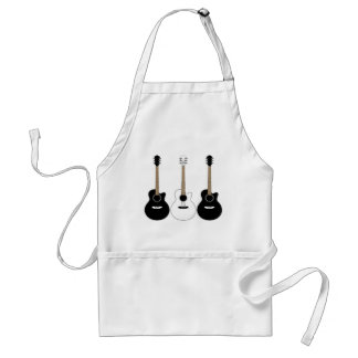 Black and White Acoustic Guitars Pop Art Vector Standard Apron