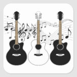 Black and White Acoustic Guitars Pop Art Vector Square Stickers