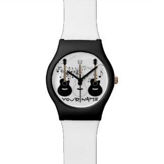 Black and White Acoustic Guitars Wristwatches