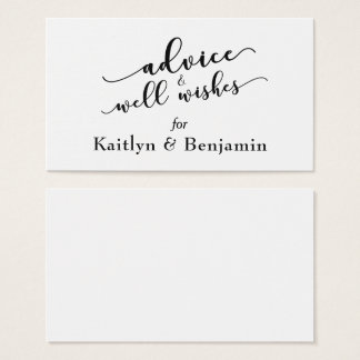 Black and White Advice & Well Wishes Wedding Business Card