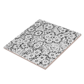 Black and White African Daisies Ceramic Tile