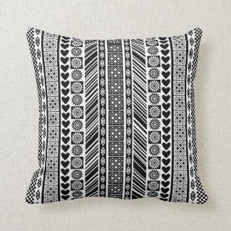 Black and White African Print Adinkra Pattern Cushion