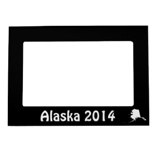 Black and White Alaska Shape Magnetic Picture Frames
