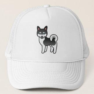 Black And White Alaskan Klee Kai Dog Illustration Trucker Hat